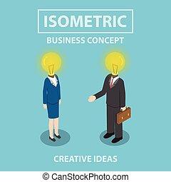 isométrique, lumière, femme affaires, tête, homme affaires, instead, ampoule