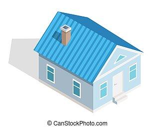 isométrique, maison, trois dimensionnel, petit, icône