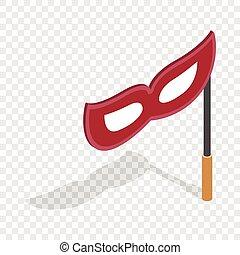 isométrique, masque, crosse, rouges, icône