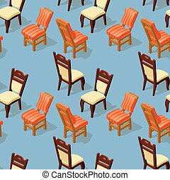 isométrique, modèle, seamless, back., chair., devant, dessin animé