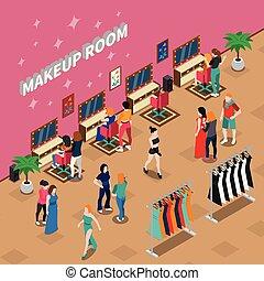 isométrique, mode, salle, industrie, maquillage, illustration