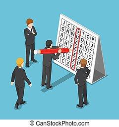 isométrique, mot, reussite, recherche, puzzle., homme affaires, trouvé