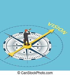 isométrique, mot, télescope, point, longue-vue, compas, homme affaires, vision