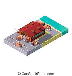 isométrique, municipal, service, brûler, vecteur, station., 3d