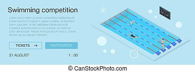 isométrique, natation, style, concurrence, bannière