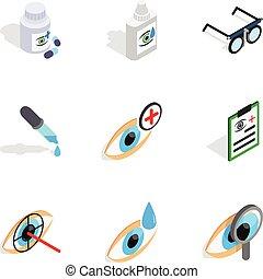 isométrique, oeil, icônes, style, soin, 3d