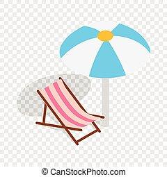 isométrique, parapluie, salon, chaise, plage, icône