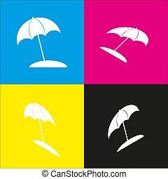 isométrique, parapluie, soleil, signe., chaise longue, jaune, magenta, noir, projections, vector., backgrounds., blanc, cyan, icône