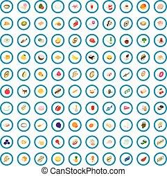 isométrique, petits gâteaux, icônes, ensemble, style, 100, 3d