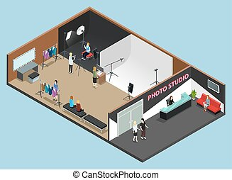 isométrique, photo, travail, moment, studio, intérieur
