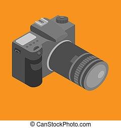 isométrique, photostudio, photo, photographie, lens., equipment., appareil photo, numérique, outillage