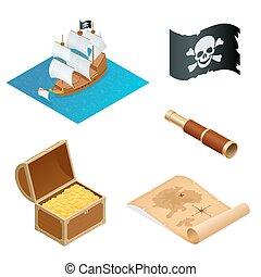 isométrique, pirate, accessoires, plat, icons., collection, à, bois, poitrine trésor, et, noir, roger gai, flag., vecteur, illustration