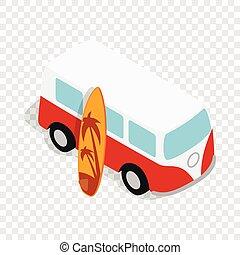 isométrique, planche surf, autobus, jaune, retro, rouges, icône