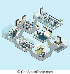 isométrique, planchers, différent, bureau