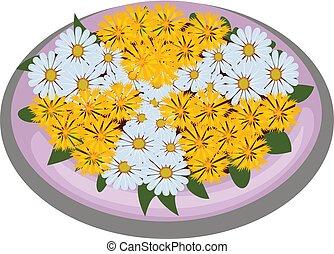 isométrique, plate-bande, dessin animé, buisson, planté, jaune, symmetrically, pâquerettes