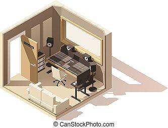 isométrique, poly, enregistrement, vecteur, studio, bas, ...