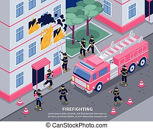 isométrique, pompier, illustration