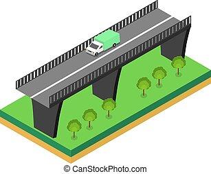 isométrique, pont, à, voitures