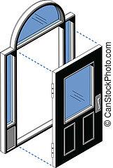 isométrique, porte