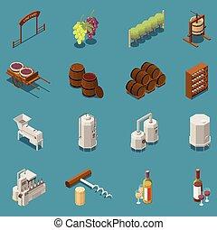 isométrique, production, ensemble, vin, icônes