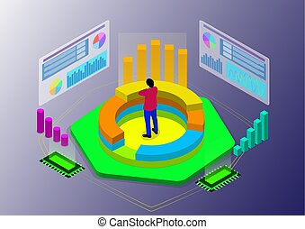 isométrique, professionnels, croissance, divers, étapes, diagrammes