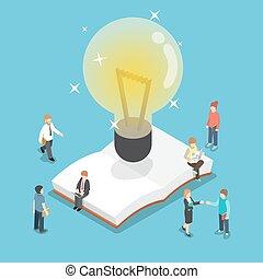 isométrique, professionnels, lumière, sur, livre, ampoule, ouvert
