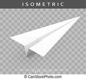 isométrique, réaliste, papier, ombre, avion, transparent, vue