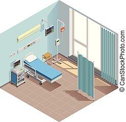 isométrique, réanimation, salle, composition