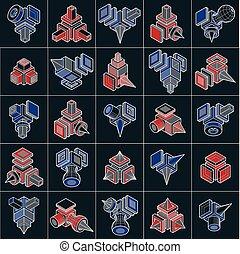 isométrique, résumé, conceptions, vecteur, construction, set.