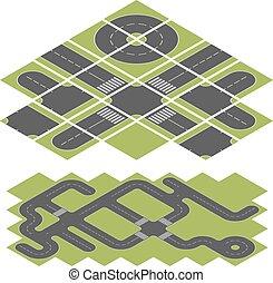 isométrique, résumé, isolé, arrière-plan., vecteur, gabarit, blanc, route