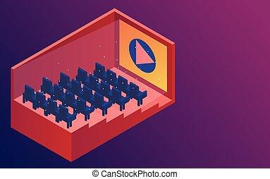 isométrique, rangées, illustration., cinéma, cinema., vecteur, fond, violet, salle, seats.