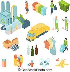 isométrique, recyclage, ensemble, déchets, icônes