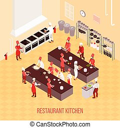 isométrique, restaurant, composition, cuisine