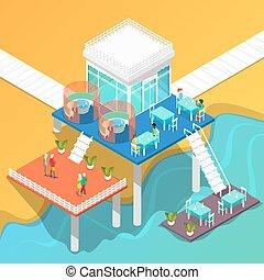 isométrique, restaurant, gens., illustration, côte, vecteur, mer, plage, bâtiment.