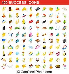 isométrique, reussite, icônes, ensemble, style, 100, 3d