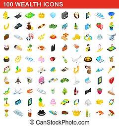 isométrique, richesse, icônes, ensemble, style, 100, 3d