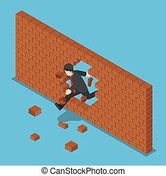 isométrique, rupture, wall., par, homme affaires, brique