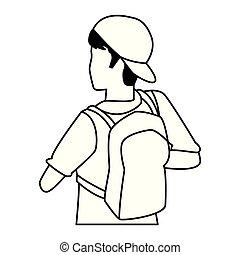 isométrique, sac à dos, jeune, dos, noir, blanc, homme
