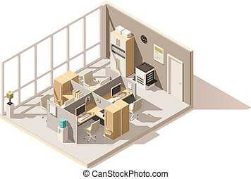 isométrique, salle, bureau, poly, vecteur, bas
