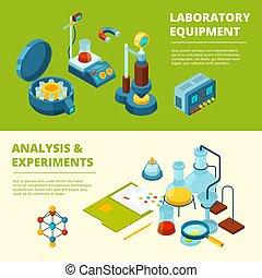 isométrique, scientifique, banners., expérience, images, monde médical, chimique, équipement, vecteur, laboratoire, ou, salle