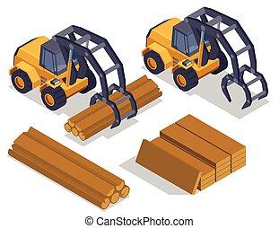 isométrique, scierie, composition, bulldozers