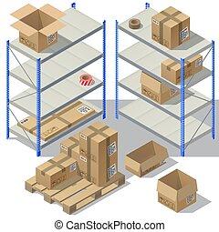 isométrique, service, stockage, vecteur, poste, 3d