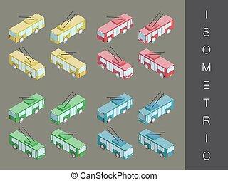 isométrique, set., transport, icône