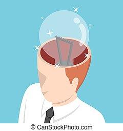 isométrique, sien, lumière, tête, homme affaires, ampoule