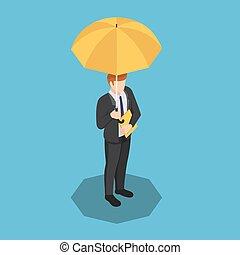 isométrique, sien, parapluie, main, fichier, homme affaires, document