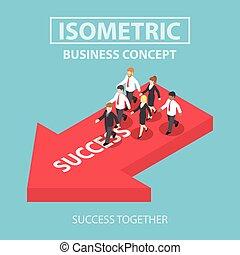isométrique, sien, reussite, business, apporter, associez-vous guide