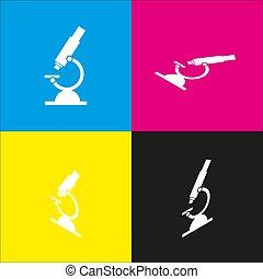 isométrique, signe jaune, microscope, magenta, noir, projections, vector., backgrounds., blanc, chimie, laboratory., cyan, icône