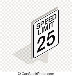 isométrique, signe, limite, vitesse, route, icône