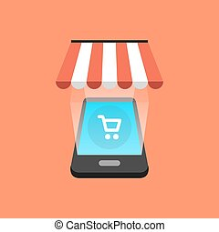 isométrique, smartphone, achats, concept., illustration, vecteur, design.