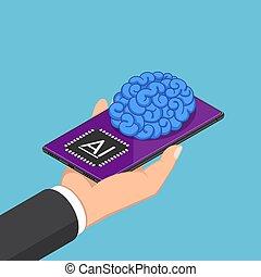 isométrique, smartphone, ai, main, cerveau, tenue, homme affaires